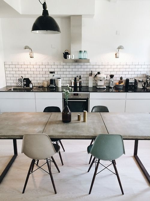 Vintage Modern White Kitchen Featuring White Cabinets Black Quartz Countertops Subway Tile Backsplash Industrial Style Home Decor Interior Dining Room Decor