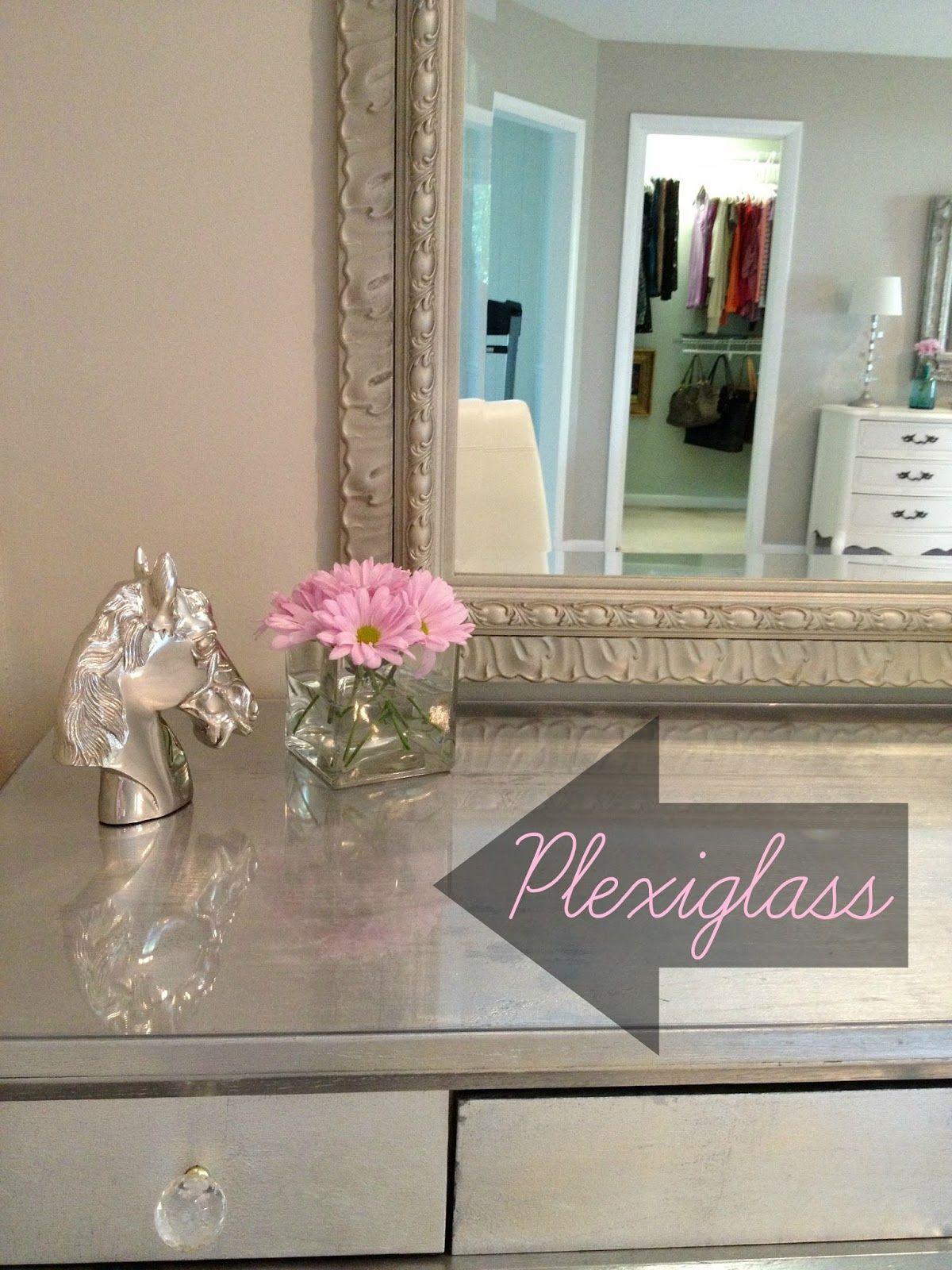 DIY Glass top desk vanity fice Pinterest