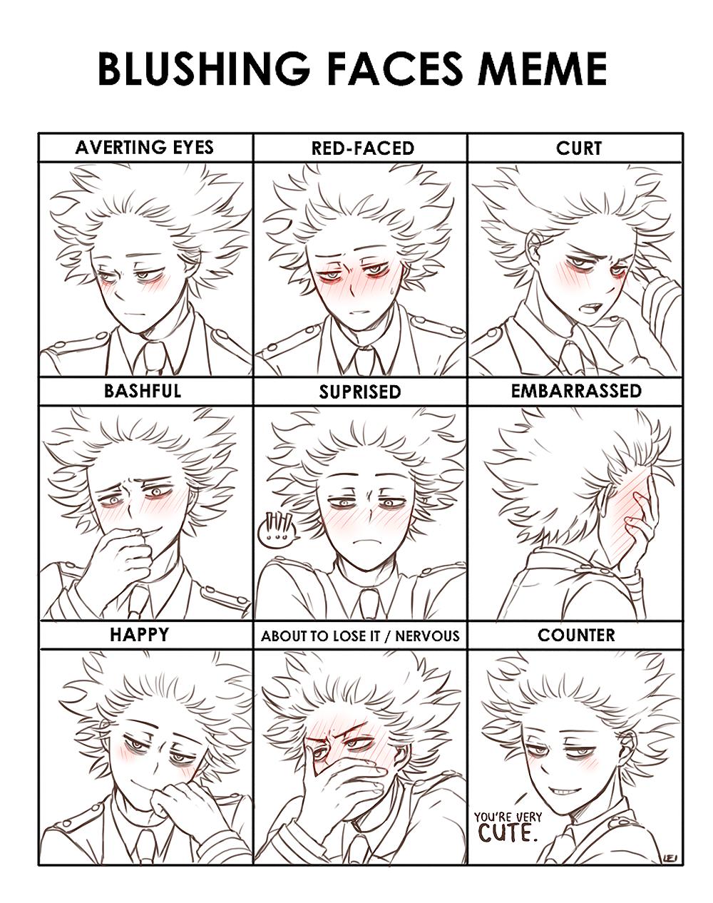 L E I L E I Hey Im Trying Out This Blushing Meme Thing And My Hero My Hero Academia Manga Blushing Face