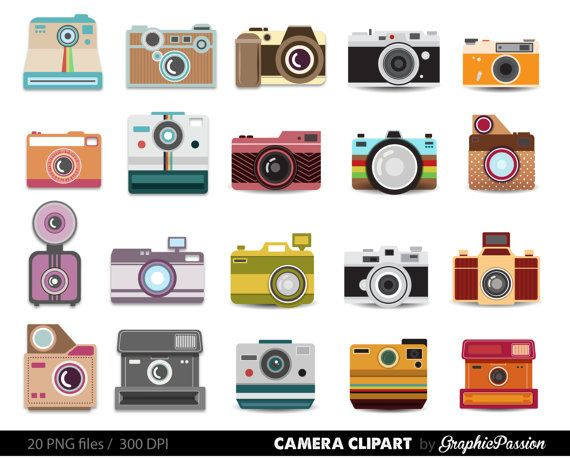 Camera Clipart Digital Photography Graphics Commercial Use For Photographers With Colorful Polka Dots And Stripes Clip Art Color Pencil Illustration Digital Photography