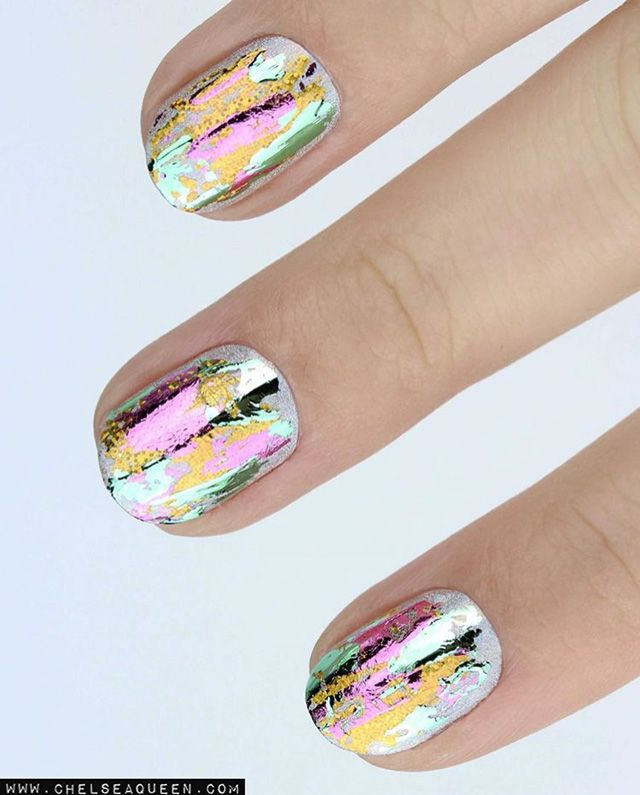 12 Brilliant Foil Nail Designs to Try This Weekend | Chrome nails ...