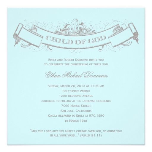 Vintage Banner Baptism/Christening Invitation Custom Invite