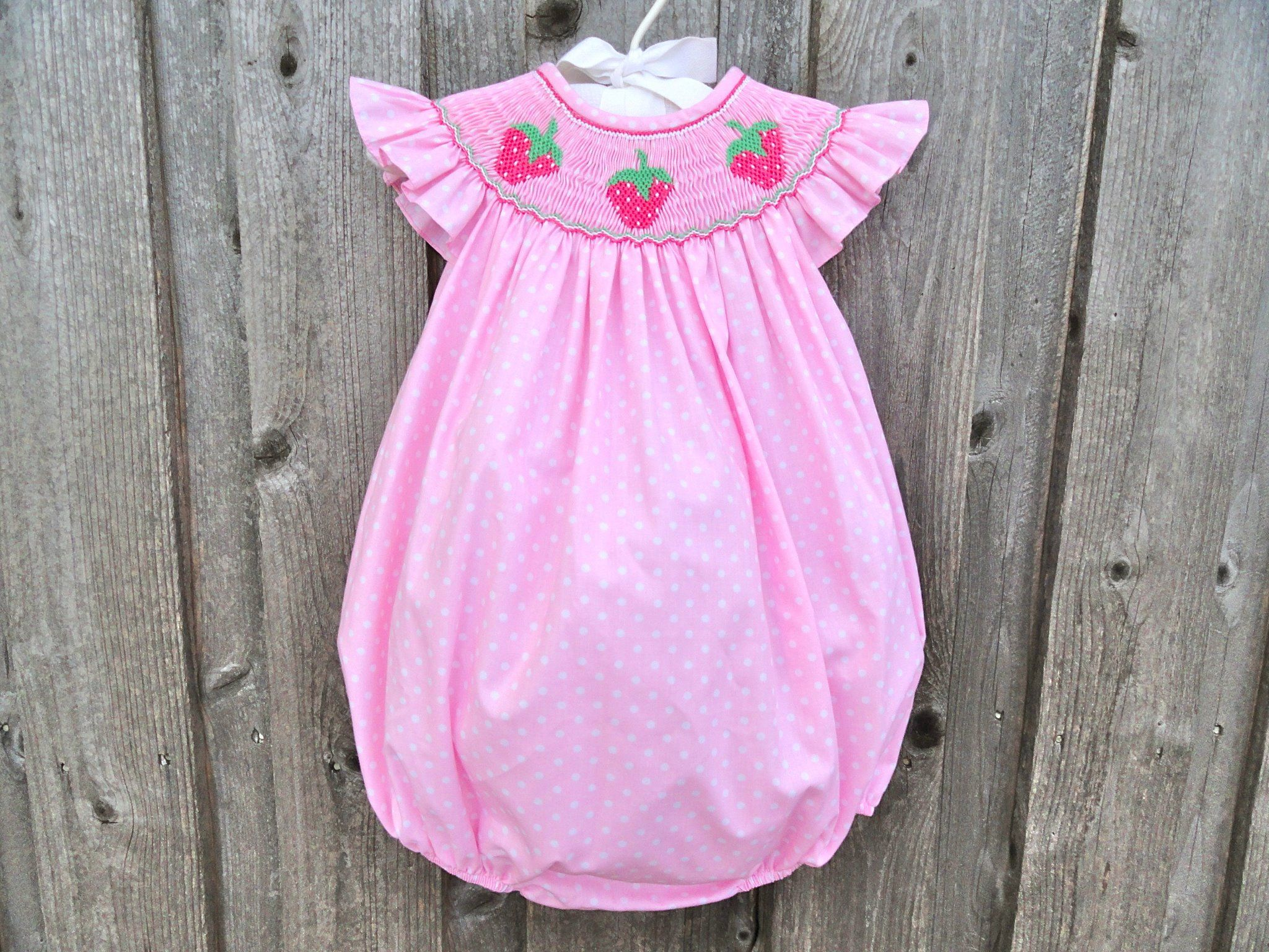 02f80f348ca4 Smocked Strawberry Bubble from Smocked Auctions