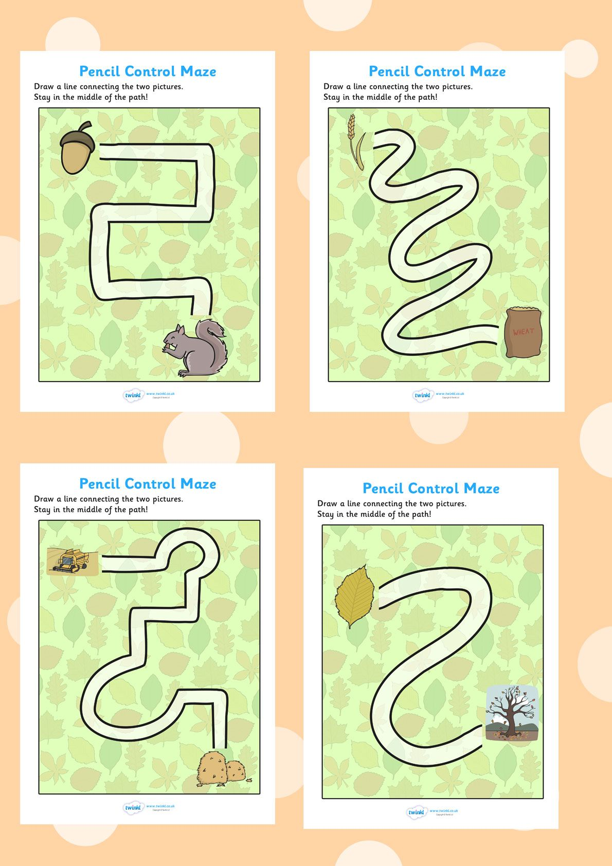 Twinkl Resources Autumn Themed Pencil Control Maze Worksheet