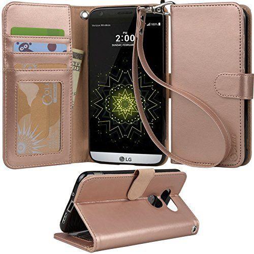 Bookshelfdesign Ideas: LG G5 Case, Arae [Wrist Strap] Flip Folio [Kickstand