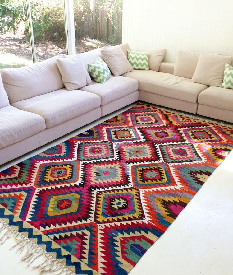 Teppiche Wohnzimmer Kelim Vintage Azteken Muster Bunt Fransen