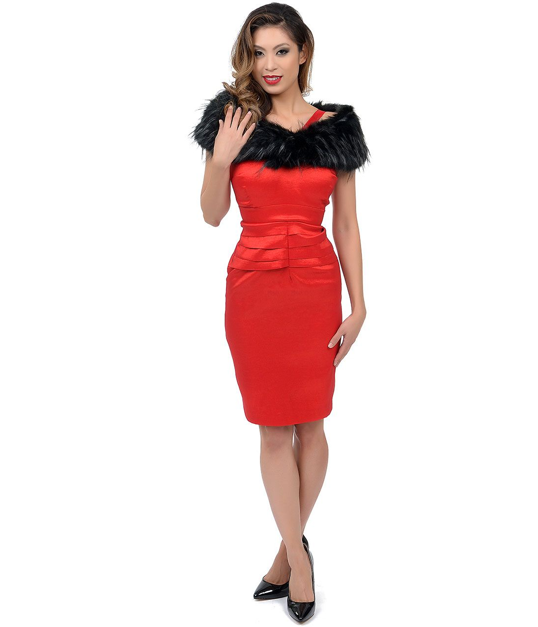 Red Dora Fitted Wiggle Dress