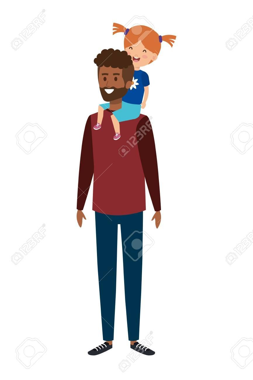 father with daughter characters vector illustration design ,afro father with daughter characters ve