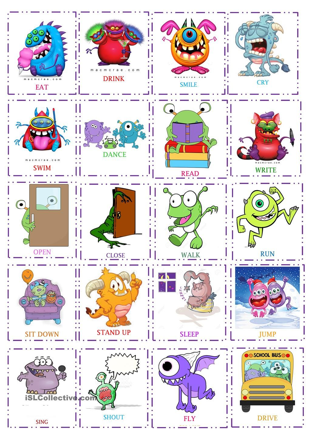 actions flash cards monsters esl vocabulary action