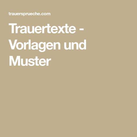 Trauertexte - Vorlagen und Muster | Sprüche und Zitate | Pinterest ...