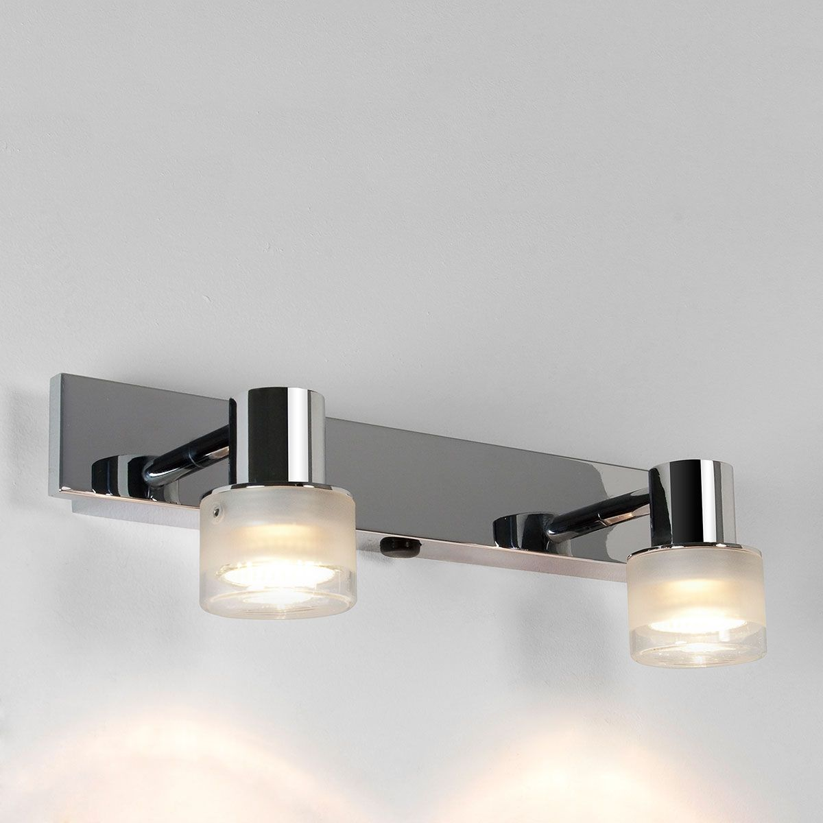The Tokai Twin Bar Is An Rated Bathroom Spotlight Suitable For Zone Polished Chrome Finish And A Glass Shade