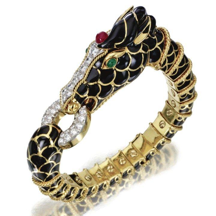 18 karátového zlata, platiny, DIAMOND, Ruby, Emerald a smaltu HORSE náramek-náramek, David Webb Sotheby