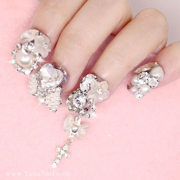 Japanese 3D Nail Art, Press On Nails, False Nails - Silver ...