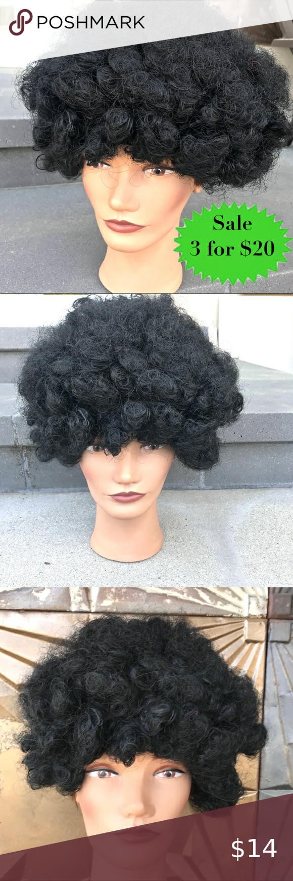 BLACK WIG Afro curly hair costume Halloween Party City