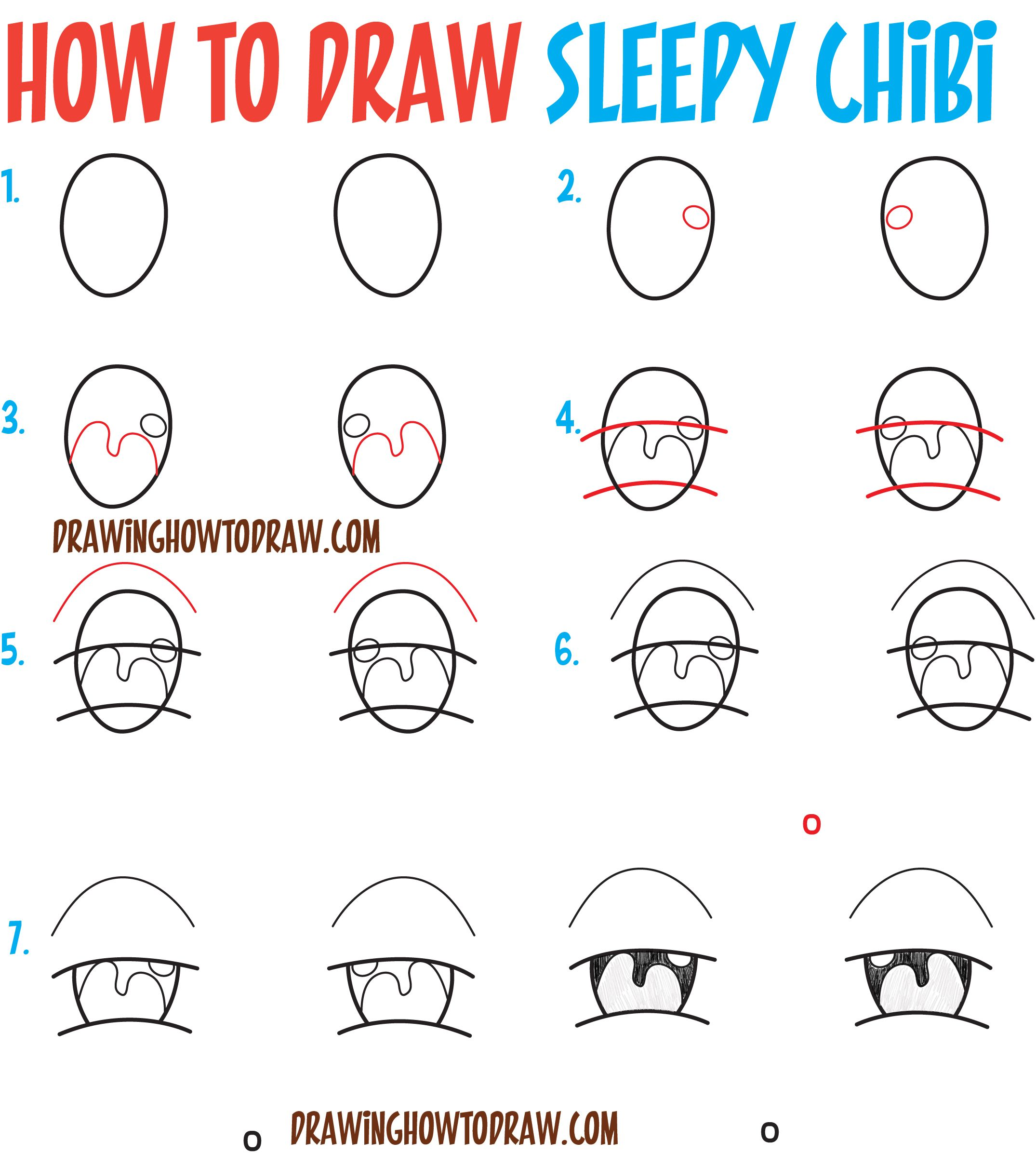 how to draw tired sleepy exhausted chibi expressions