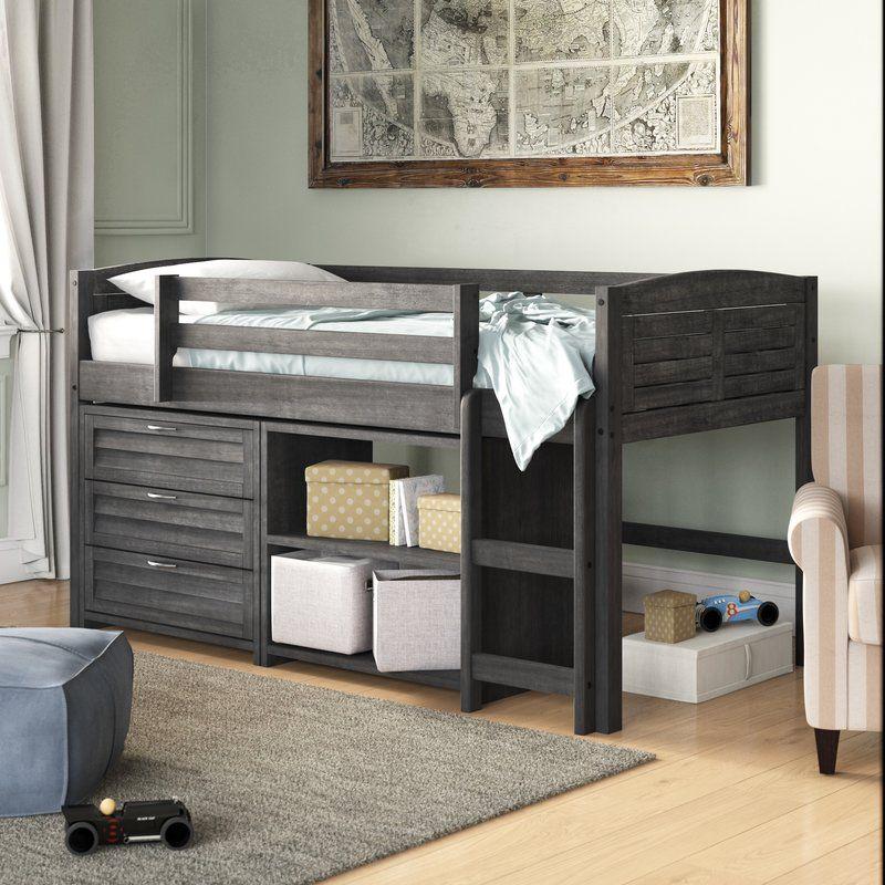 Evan Twin Low Loft Bed with Storage Low loft beds, Bed