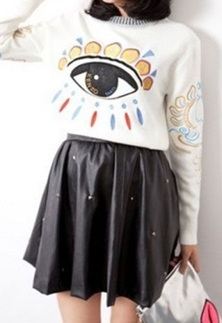 usd27.99/Image of [grzxy6600395]Street-chic Style Retro Eye Print Embroidered Pullover Sweater