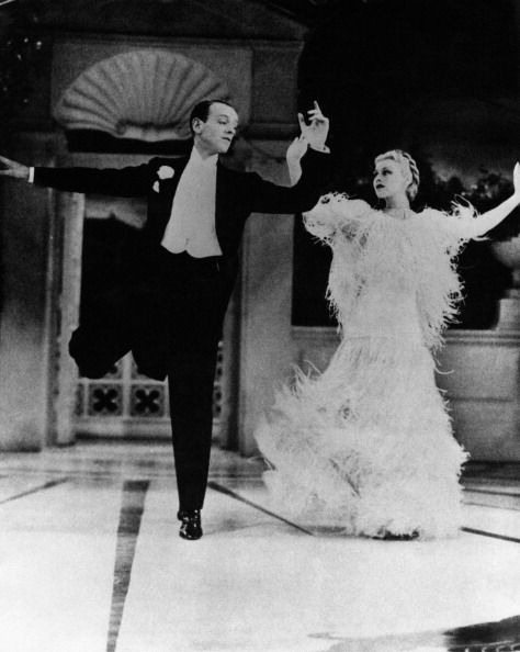 American dancer choreographer and actor Fred Astaire dancing with American actress and dancer Ginger Rogers in the film Top Hat 1935