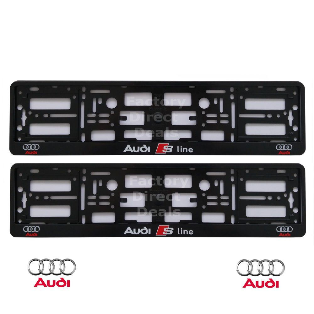 NEW PAIR BLACK S LINE AUDI NUMBER PLATE SURROUNDS HOLDER FRAME FOR ANY AUDI  sc 1 st  Pinterest & New pair black s line audi number plate surrounds holder frame for ...