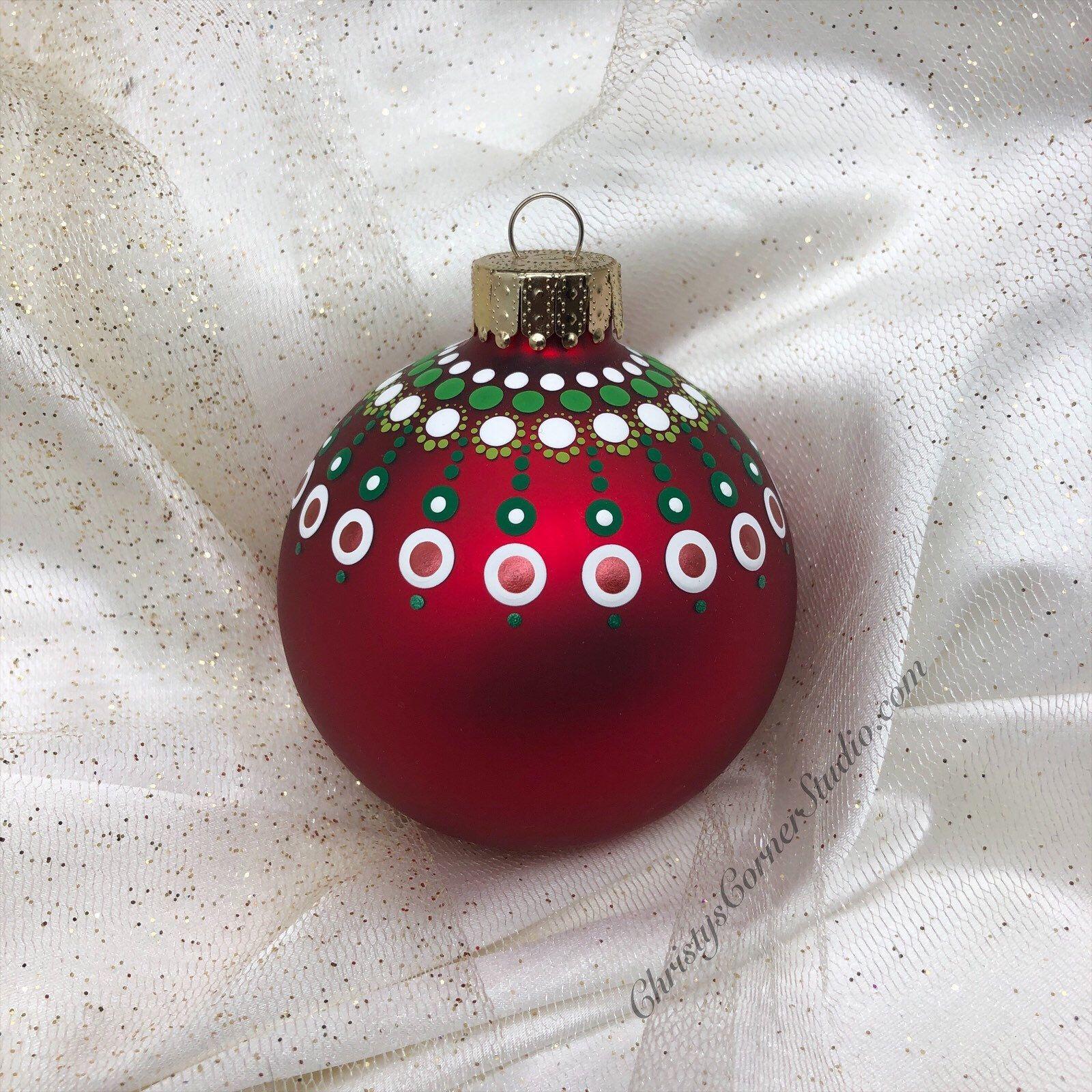Hand Painted Red Mandala Glass Christmas Ornament Glass Ball Etsy Painted Christmas Ornaments Christmas Mandala Christmas Ornaments