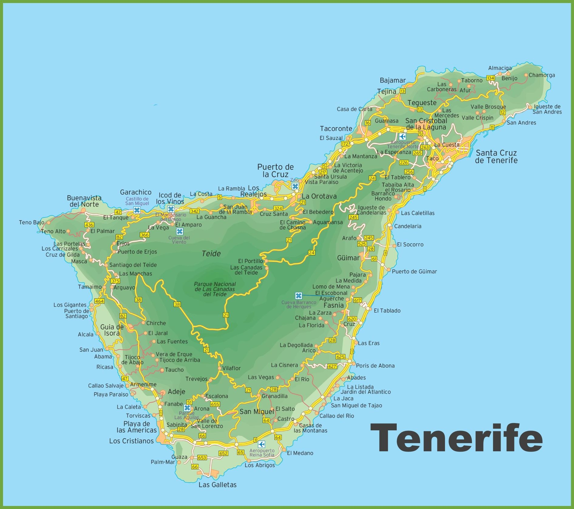 Map Of Spain And Surrounding Islands.Map Of Tenerife Island Tenerife Tenerife Map Canary Islands