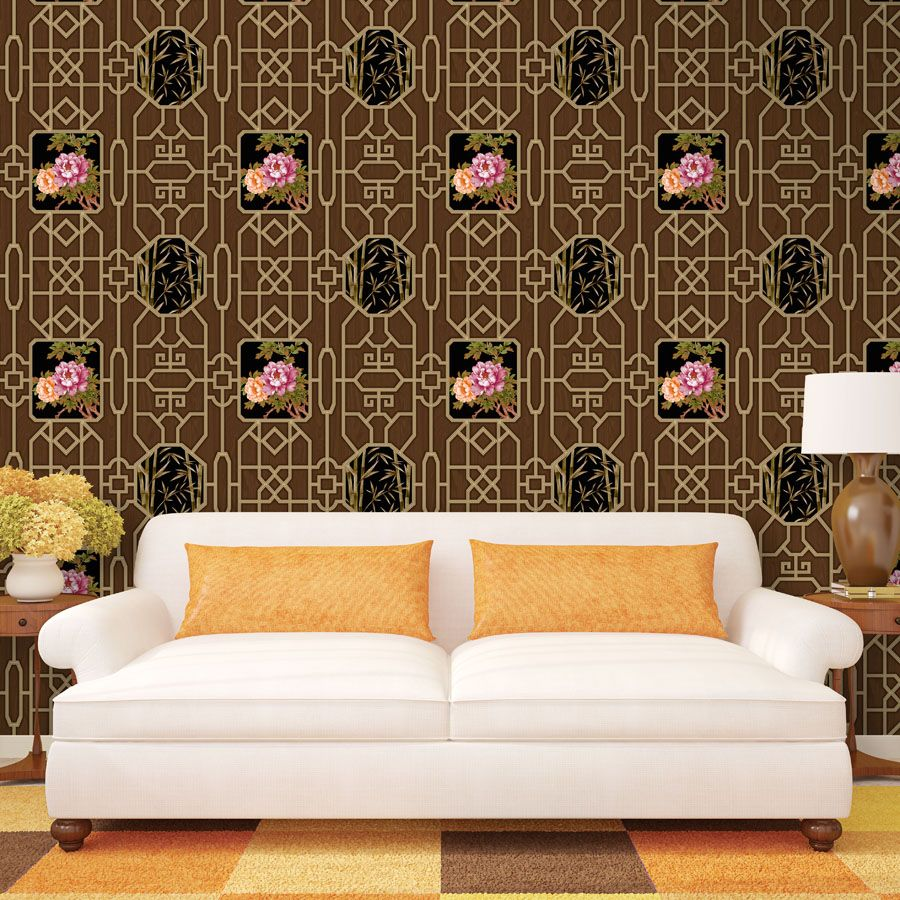6D Chinese classical floral wallpaper Living room bedroom sofa