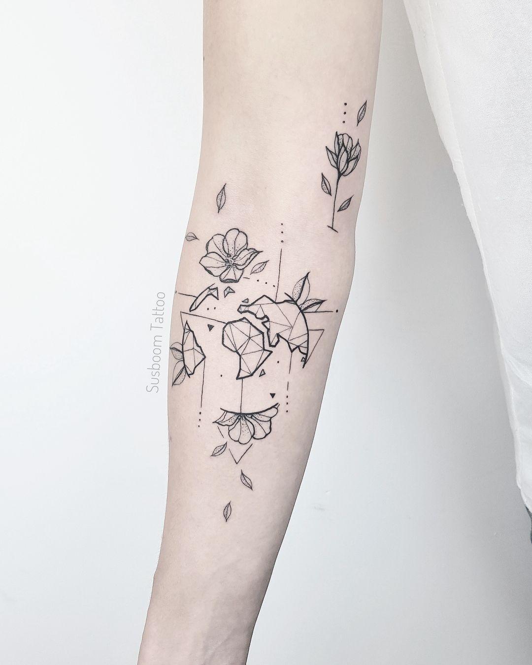 World Geometric Minimal Tattoo   Minimal tattoo, Tattoo ...