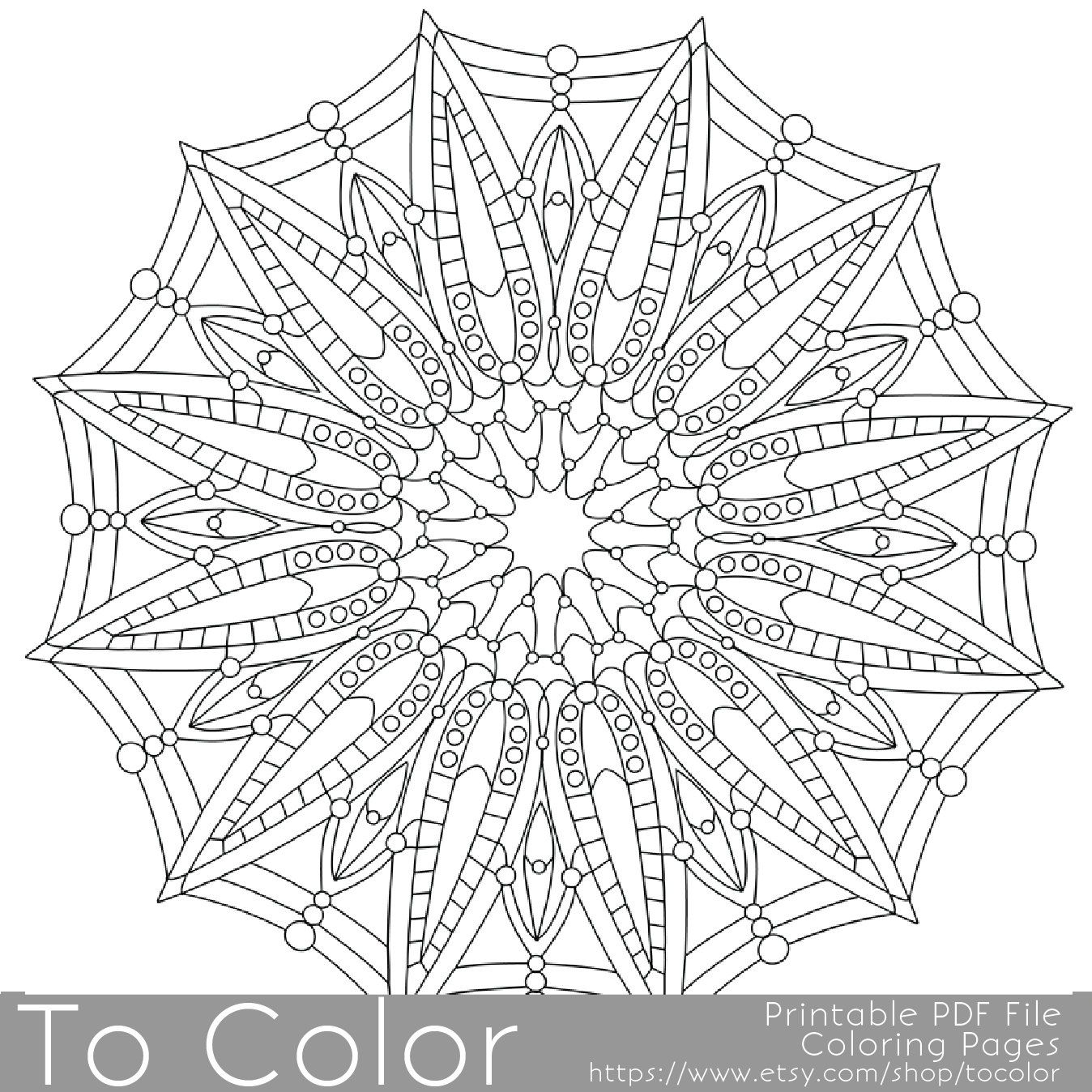 Detailed Printable Coloring Pages For Adults Gel Pens Mandala Pattern Pdf Jpg Instant Download Color Mandala Coloring Pages Coloring Pages Coloring Books