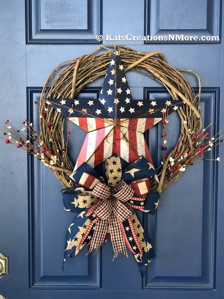 AG Designs Patriotic Decor Grapevine Twig Cross Wreath One Nation Under God