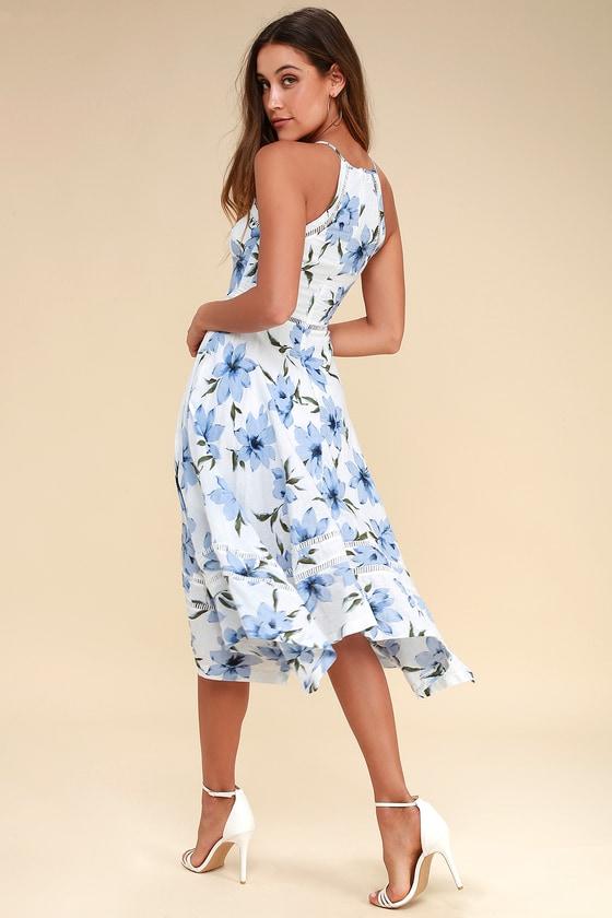 Zahara Blue and White Floral Print Midi
