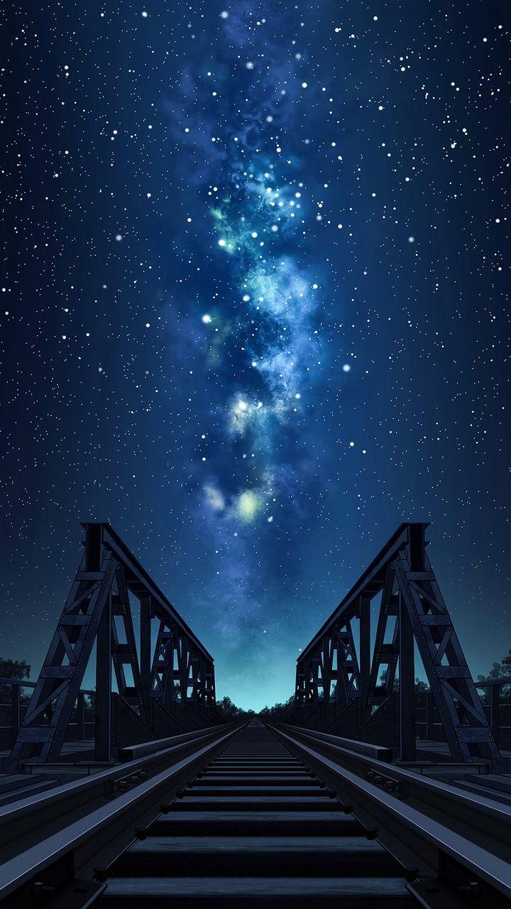 Скачать 720x1280 мост, рельсы, звездное небо, ночь, арт ...