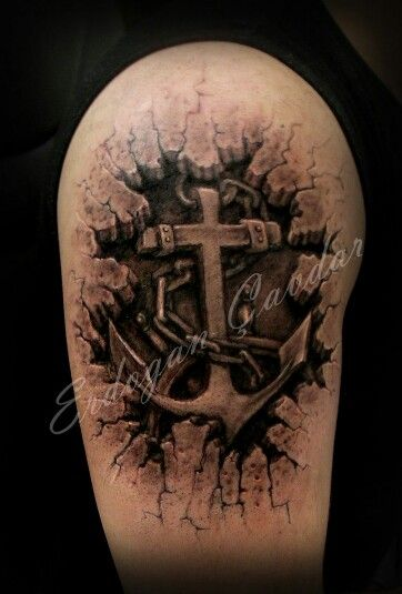 e78d0b272c223 3D anchor tattoo | Amazing 3D art | Cross tattoo designs, Best 3d ...