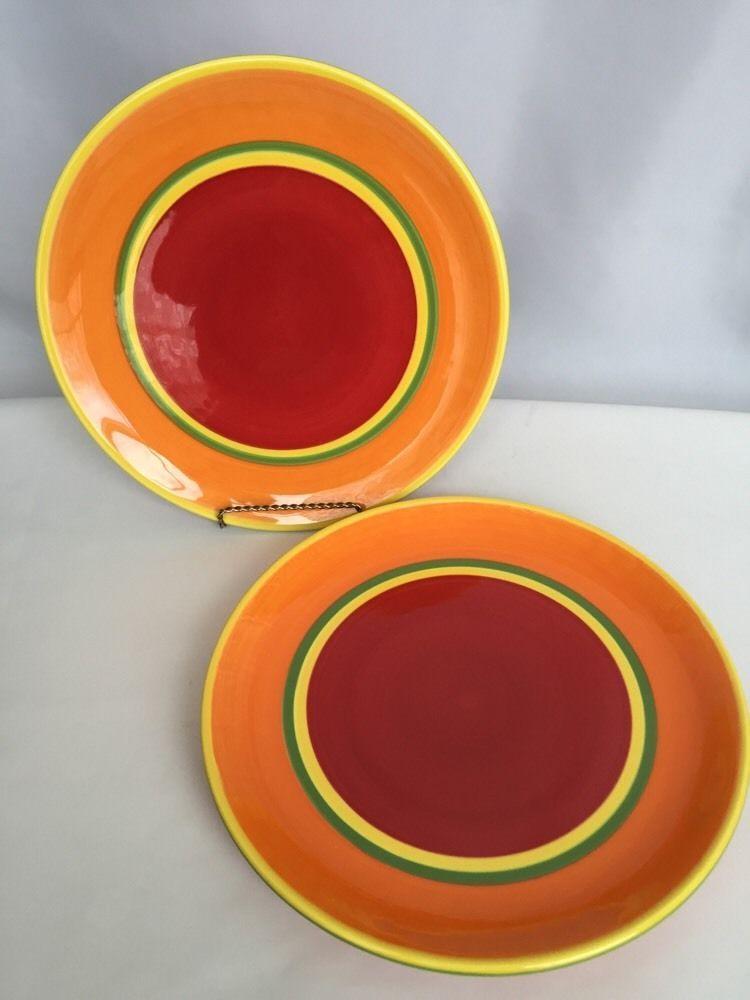 2 Dansk Caribe Aruba Orange Dinner Plate Red Yellow Green 10 Inch Hand Paint in Pottery u0026 Glass Pottery u0026 China China u0026 Dinnerware & 2 Dansk Caribe Aruba Orange Dinner Plate Red Yellow Green 10 5/8 ...