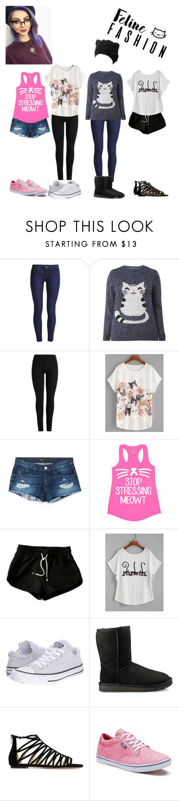 """Feline Fashion"" by pixiemon-meaka ❤ liked on Polyvore featuring Levi's, 3x1, Converse, UGG, Jimmy Choo and Vans"