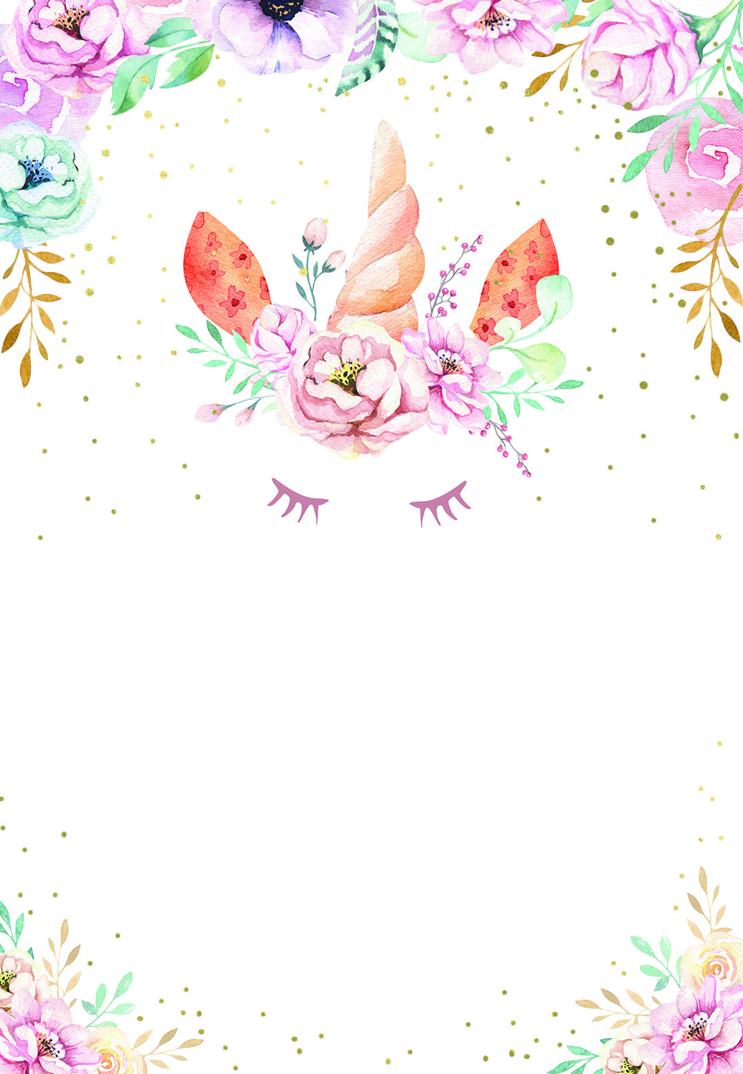 Floral unicorn - Birthday Invitation Template (free)  Greetings