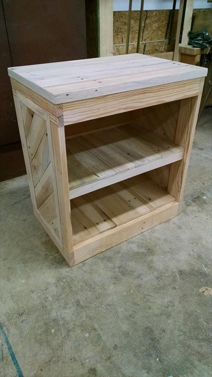 Diy pallet nightstand or side table nightstands pallets for Side table plans