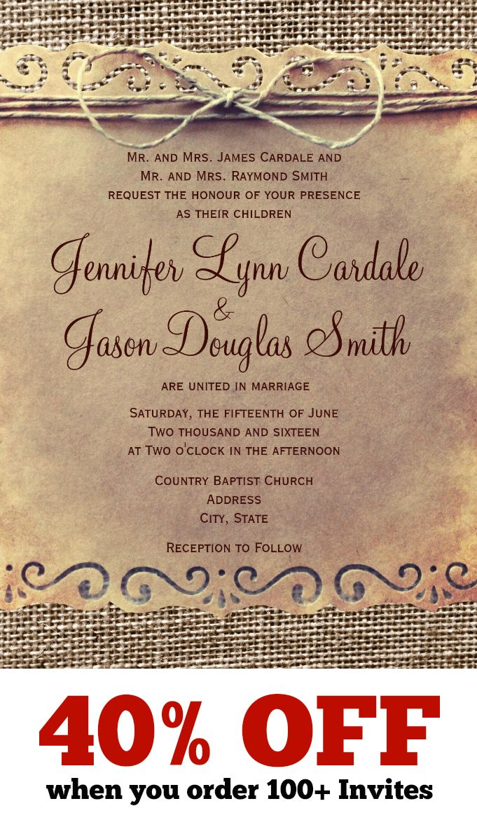 Rustic Country Vintage Printed Burlap Wedding Invitations.  These unique distressed wedding invitations are 40% OFF when you order 100+ Invites.  Two Sided Design on your choice of paper.  #wedding #countrywedding #rusticwedding
