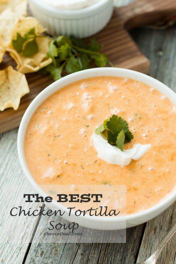 cheesy chicken tortilla soup recipe by oh sweet basil #chickentortillasoup