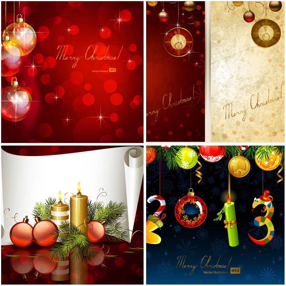 Merry Christmas Greeting Cards With Christmas Balls And Candles