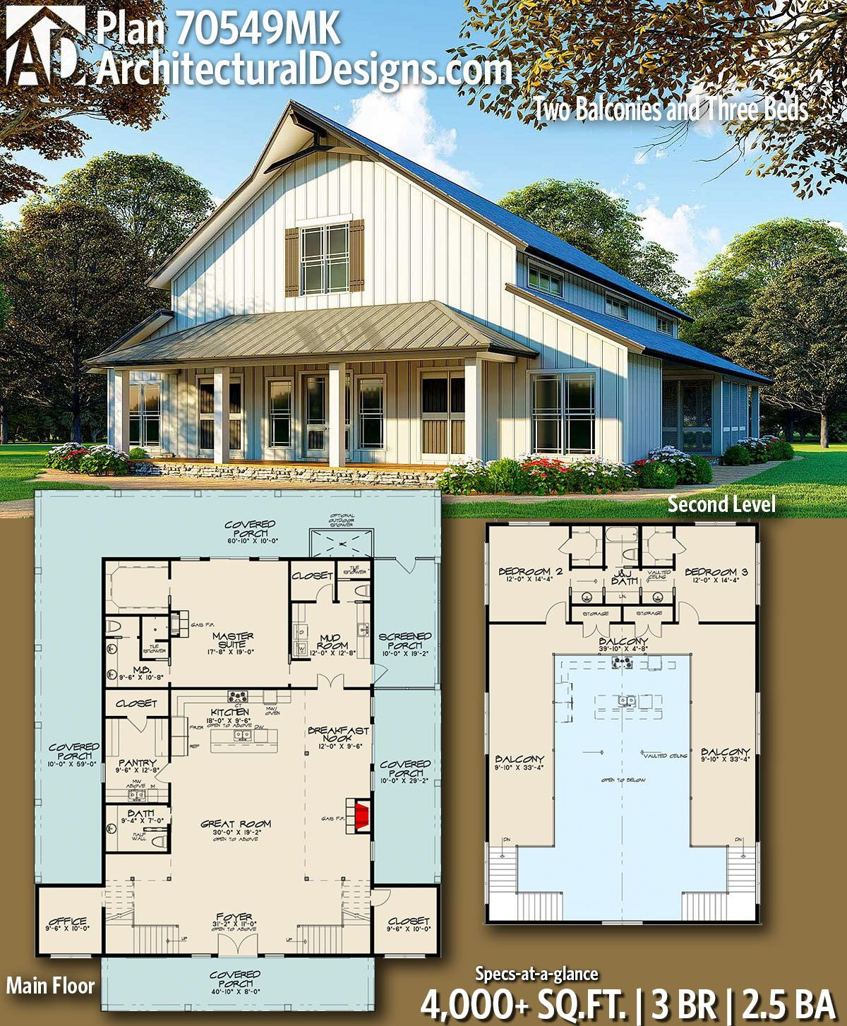 Plan 70549mk 3 Bedroom Barndominium Inspired Country House Plan With Two Balconies Barn Style House Barn House Plans Pole Barn House Plans