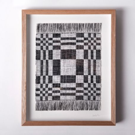 Woven -  small woven masterpieces being framed as art and displayed. <-- always after new ways to use weaving :-)