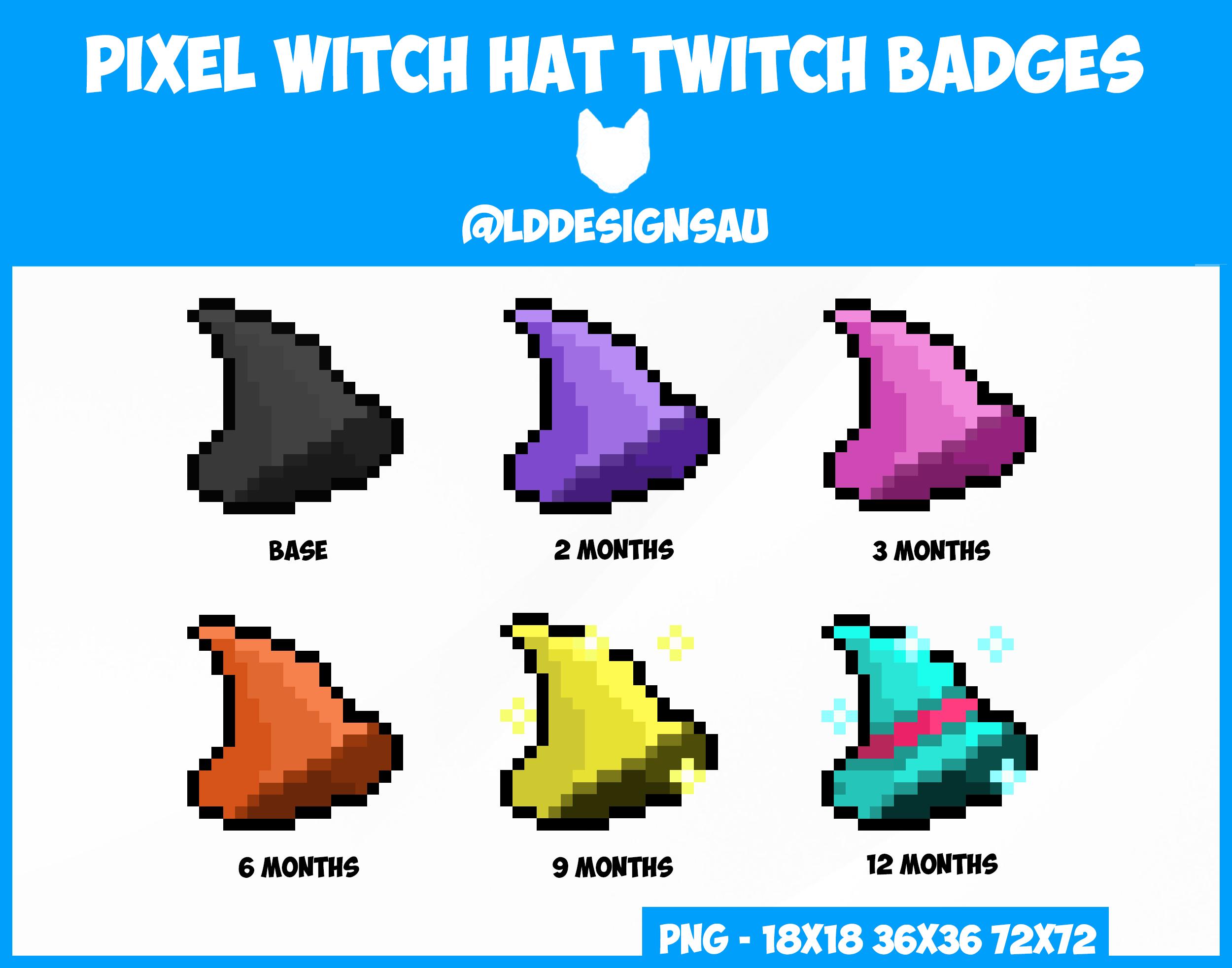 Twitch Sub Badges Bit Badges Pixel Witch Hat Twitch Badge Twitch Bits