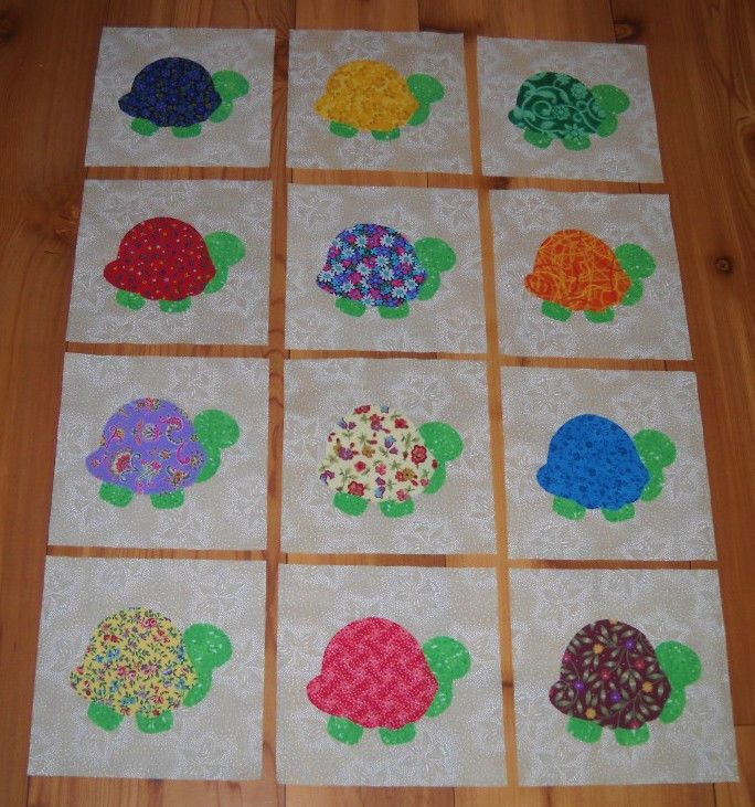 Set of 12 Bright Turtle  Cotton Fabric Appliques for Quilts Apparel #Unbranded
