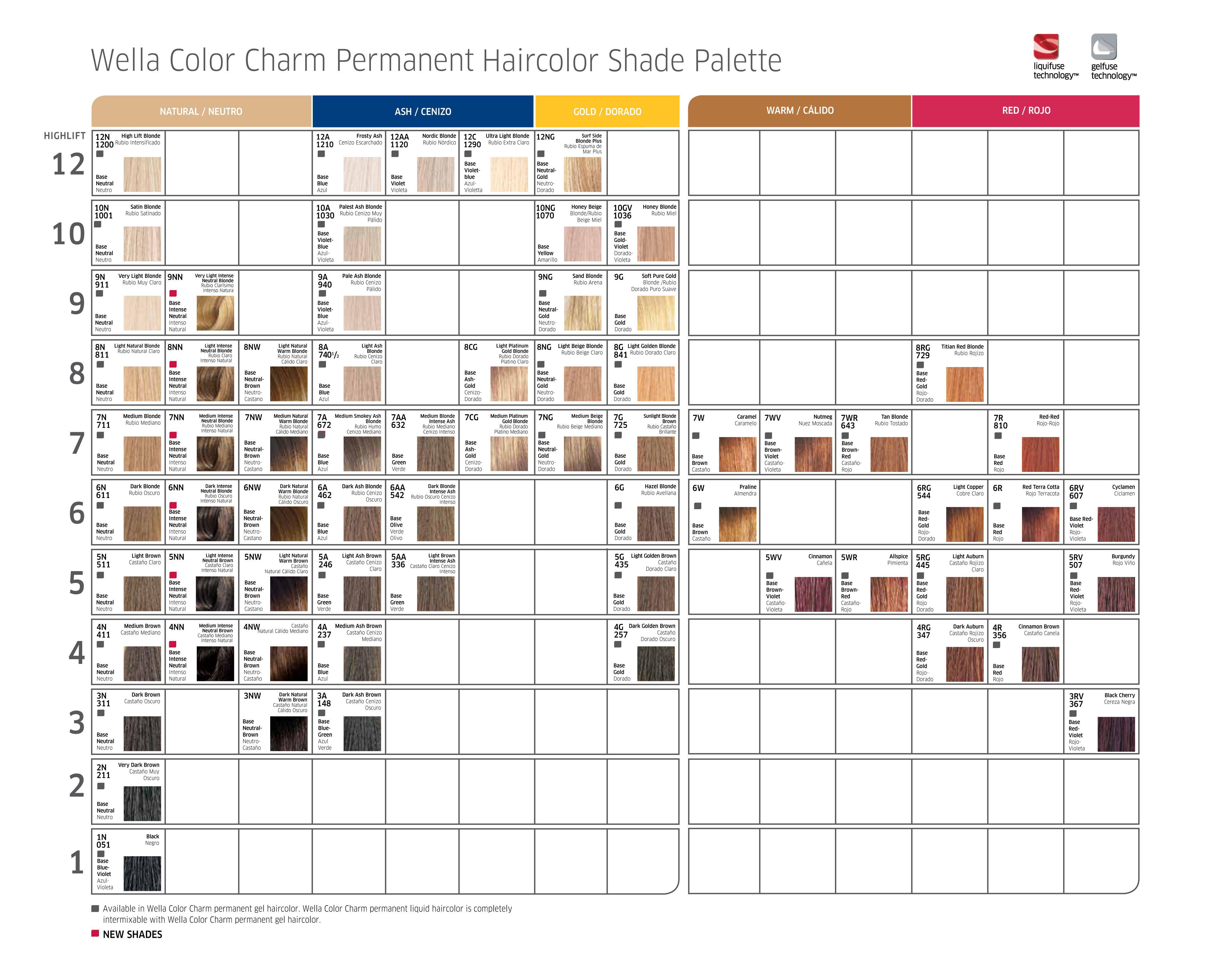 cac acf  bcc      wella color charm chart hair also tango shade rh pinterest