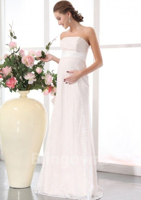 Strapless Floor Length Lace Ruched Zipper A Line Sleeveless White Maternity  Wedding Dresses