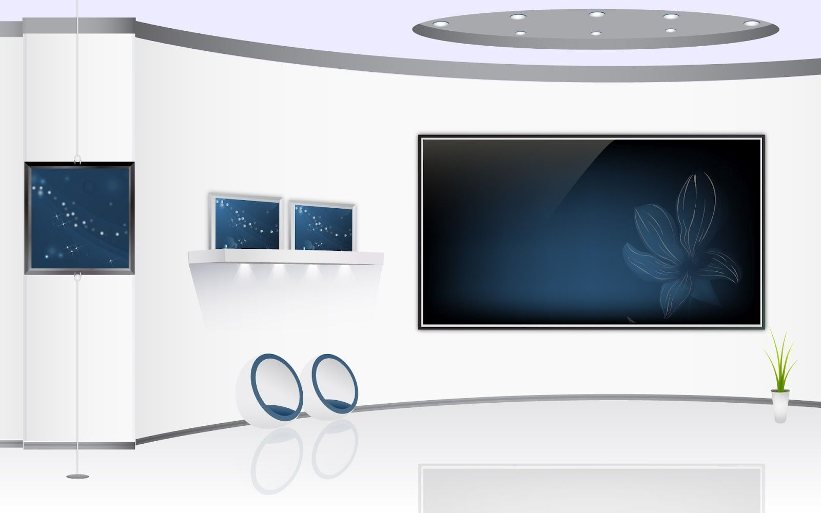 White-blue-home-theater-Furniture-And-Interior-Art-Designs ...