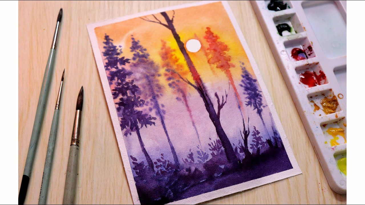 Simple Watercolor Painting Tutorial Of A Misty Forest Scenery Step