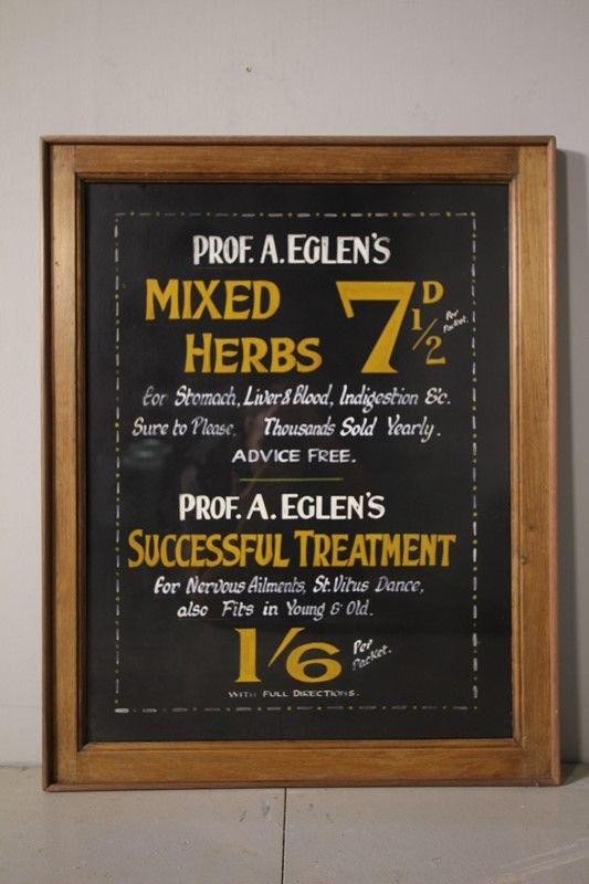 Original Hand Painted Antique Chemist Sign Decorative