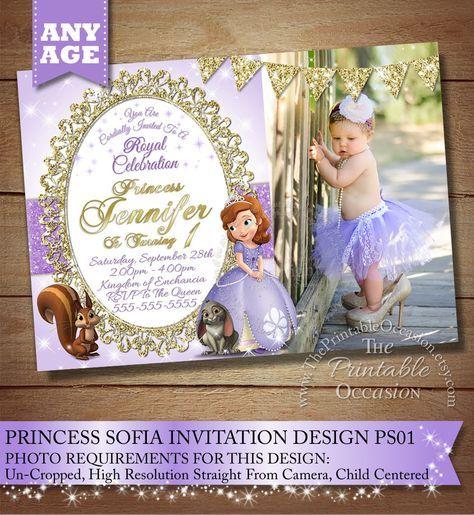 Sofia the First Birthday Invitation Princess Photo Invitation