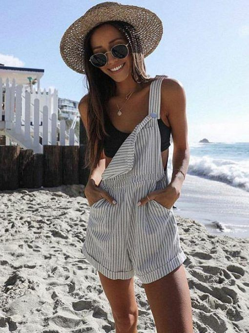 Loose Striped Pockets Overalls Shorts in 2020 | Outfits for mexico, Cool summer outfits, Europe outf